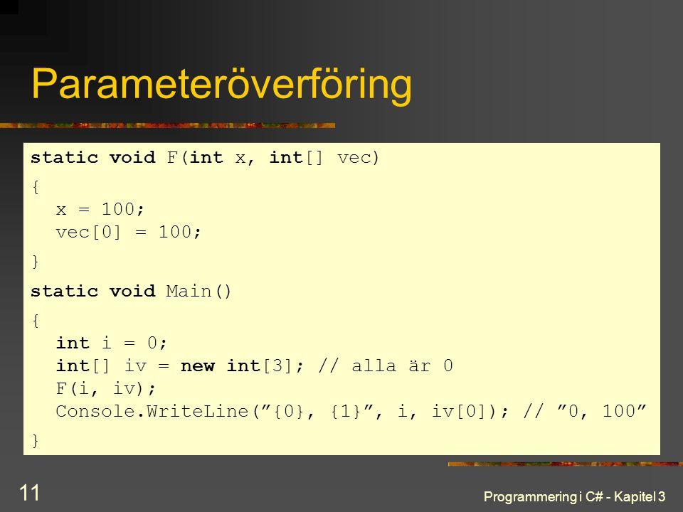 Parameteröverföring static void F(int x, int[] vec)